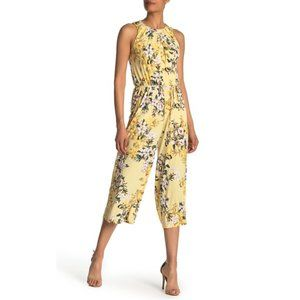 London Times Floral Sleeveless Crop Jumpsuit